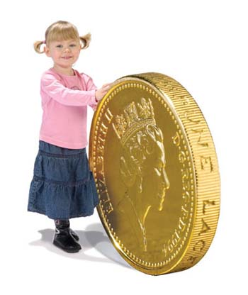 Picture of little girl Jodi rolling a big coin